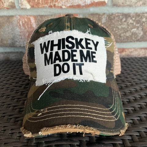Whiskey Made Me Do It Hat, Unisex Hat, Ball Cap, Distressed Hat, Weathered Hat