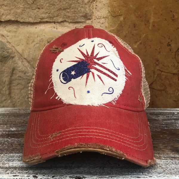 Firework Hat, 4th of July Ball Cap, Distressed Hat, Weathered Hat
