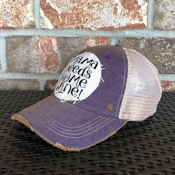 Mama Needs Some Wine, Wine Hat, Mom Hat, Ball Cap, Distressed Hat, Weathered Hat