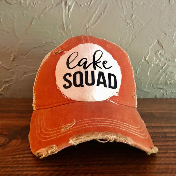 Lake Squad, Ball Cap, Distressed Hat, Weathered Hat