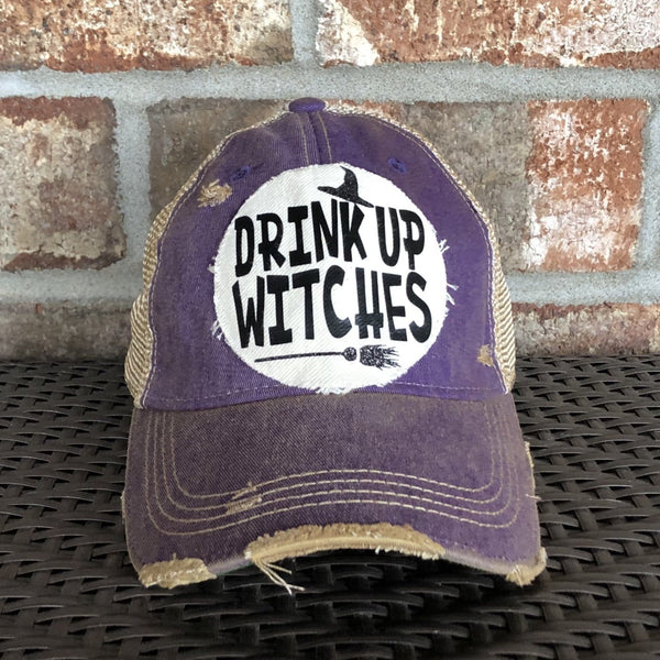 Drink Up Witches Hat, Weathered Hat, Fall Hat, Holiday Cap