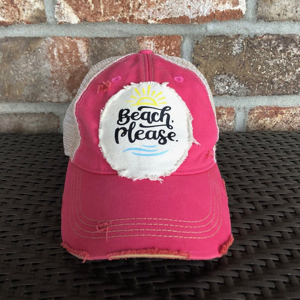 Beach Please Hat, Weathered Hat, Summer Hat