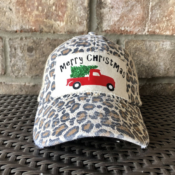 Christmas Truck Hat, Christmas Tree Hat, Merry Christmas, Holiday Cap, Winter Hat, Women's Hat, Unisex Baseball