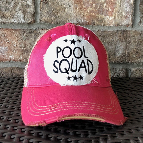 Pool Squad, Ball Cap, Distressed Hat, Weathered Hat