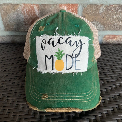 Vacay Mode Hat, Vacay Hat, Vacation Hat, Ball Cap, Distressed Hat, Weathered Hat