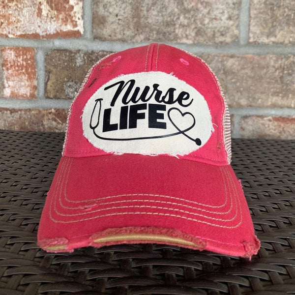 Nurse Life Hat, Baseball Hat, Women's Hat, Ball Cap, Distressed Hat, Weathered Hat