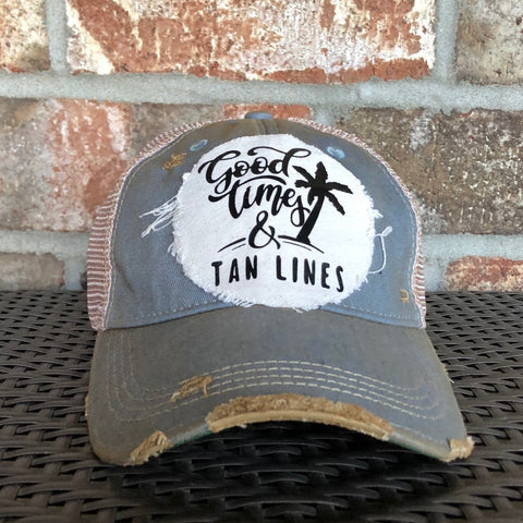 Good Times and Tan Lines Hat, Weathered Hat, Summer Hat