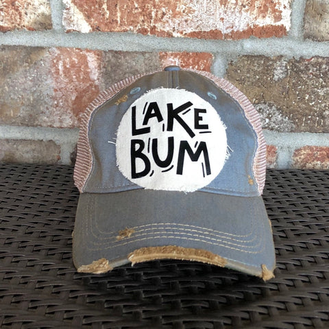 Lake Bum Hat, Ball Cap, Distressed Hat, Weathered Hat, Summer Hat