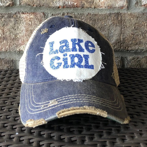 Lake Girl  Hat, Baseball Hat, Women's Hat, Ball Cap, Distressed Hat, Weathered Hat