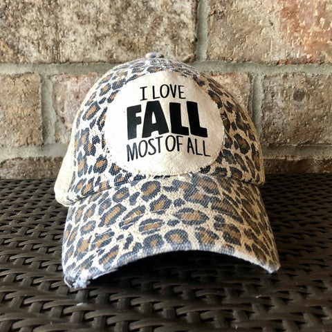 I Love Fall Most All Hat, Weathered Hat, Fall Hat