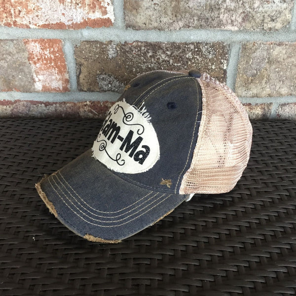 Glam-Ma Hat, Baseball Hat, Women's Hat, Ball Cap, Distressed Hat, Weathered Hat