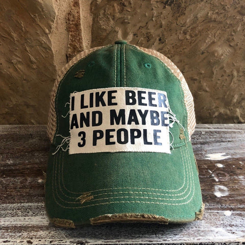 I like Beer and Maybe 3 People Hat, Unisex Hat, Unisex Cap, Baseball Hat, Women's Hat, Ball Cap, Distressed Hat, Weathered Hat