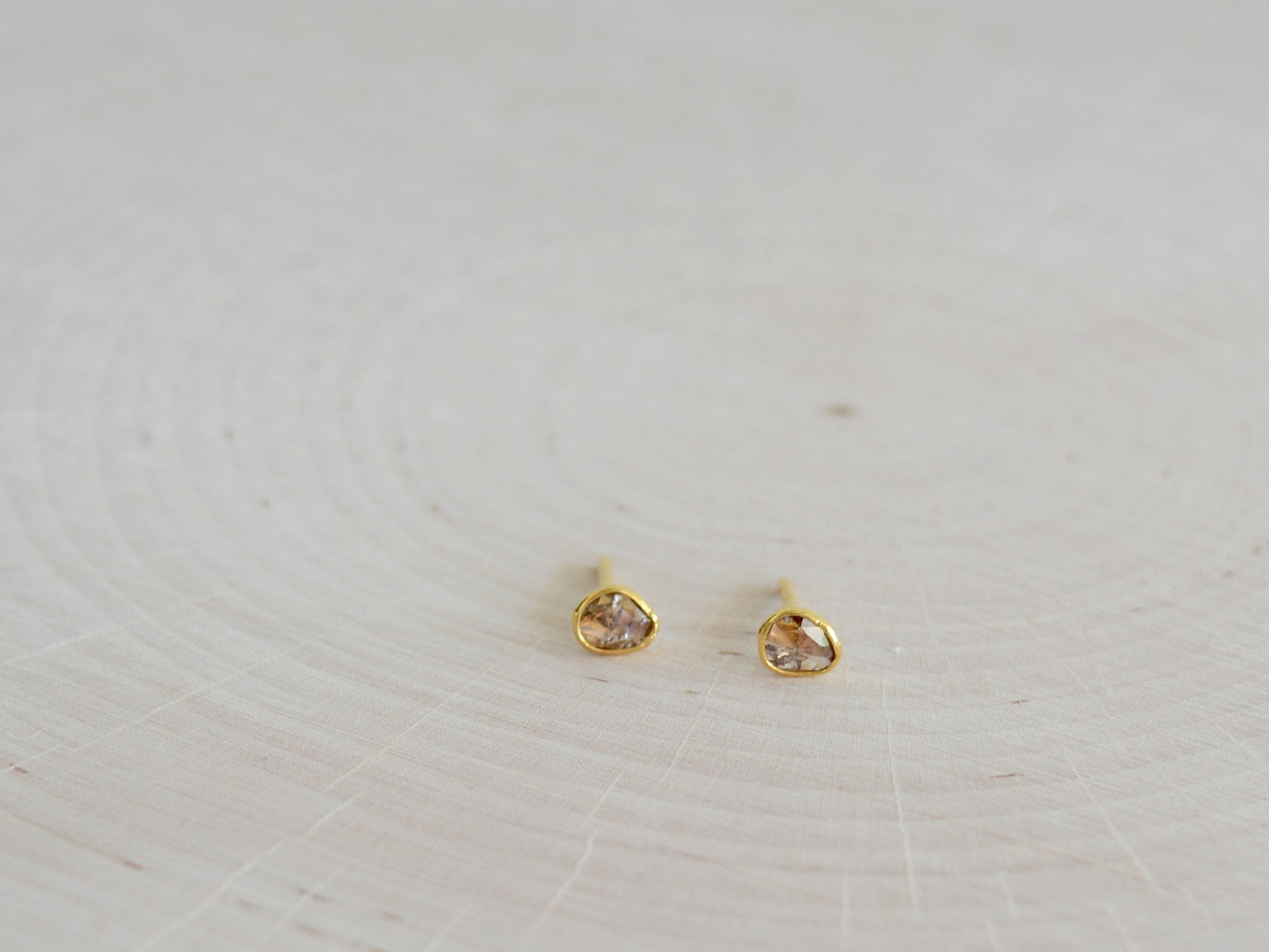 Faceted Champagne Indian Diamond Studs