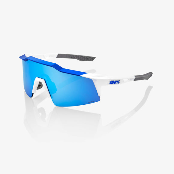 100% Speedcraft SL Matte White/Metallic Blue, Hiper Blue Mirror Lens