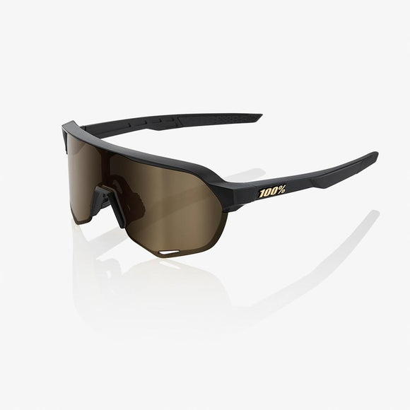 100% S2 Matte Black, Soft Gold Lens