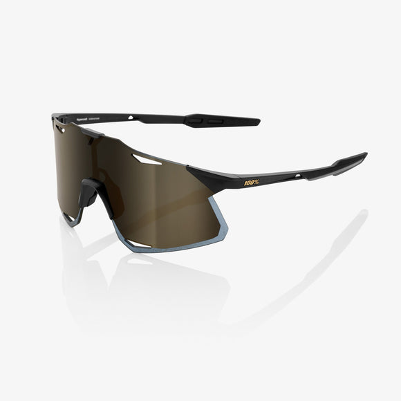 100% Hypercraft Matte Black, Soft Gold Mirror Lens
