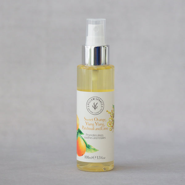 Sweet Orange Ylang Ylang Patchouli and Lime Pillow Spray to aid Sleep