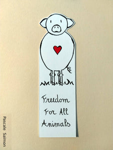"Marque-page ""Freedom for all animals"" Cochon"