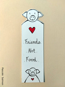 "Marque-page ""Friends not food"" Cochon"