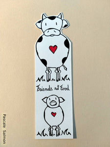 Marque-page Friends not food - Vache Cochon