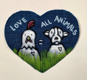 "Patch coeur ""Love all animals"""