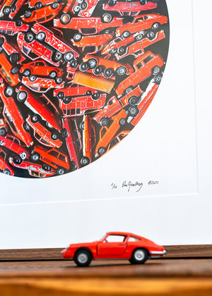 artwork with red toycars