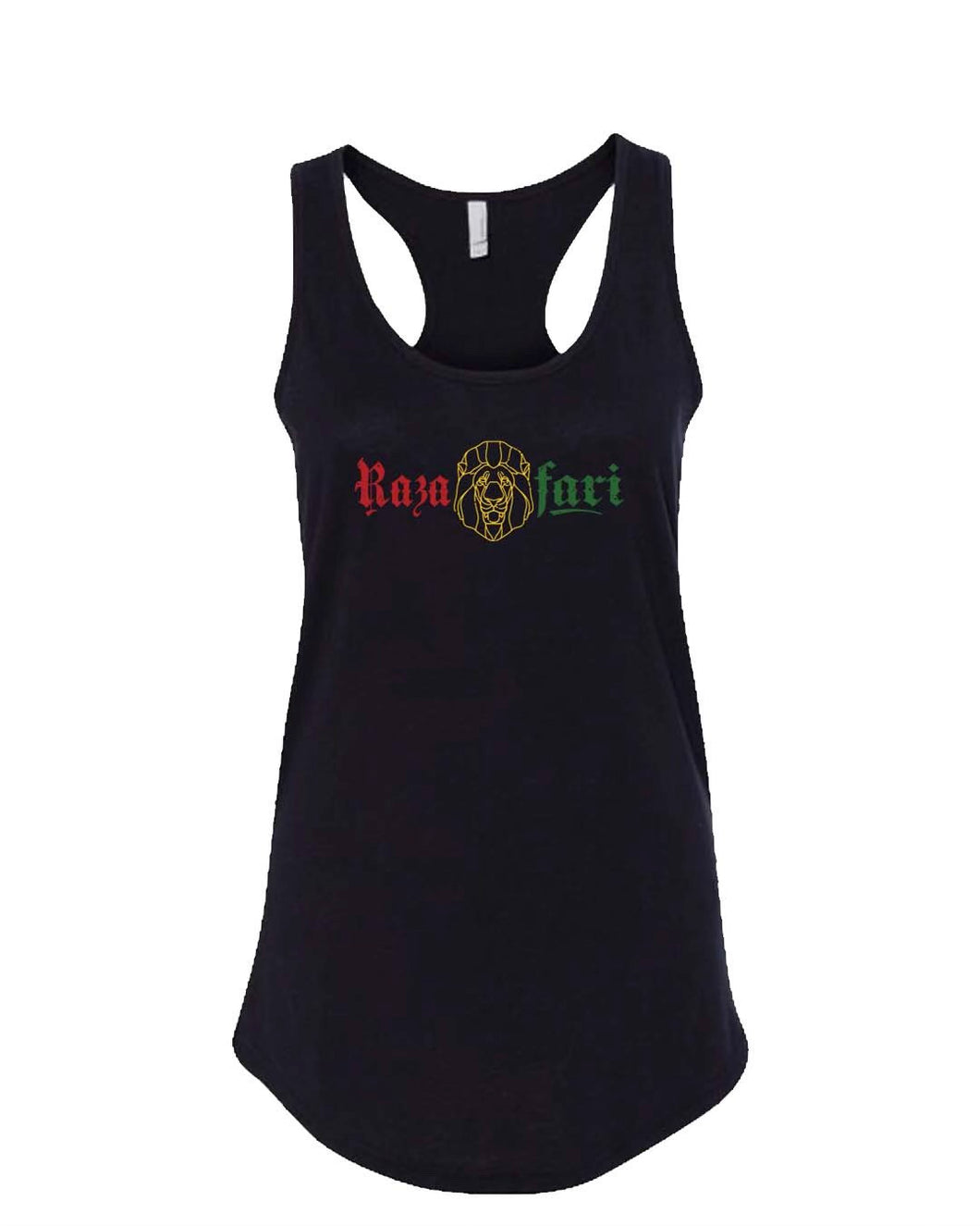 Red, Gold, & Green Lion/Razafari Ladies Tank - Black