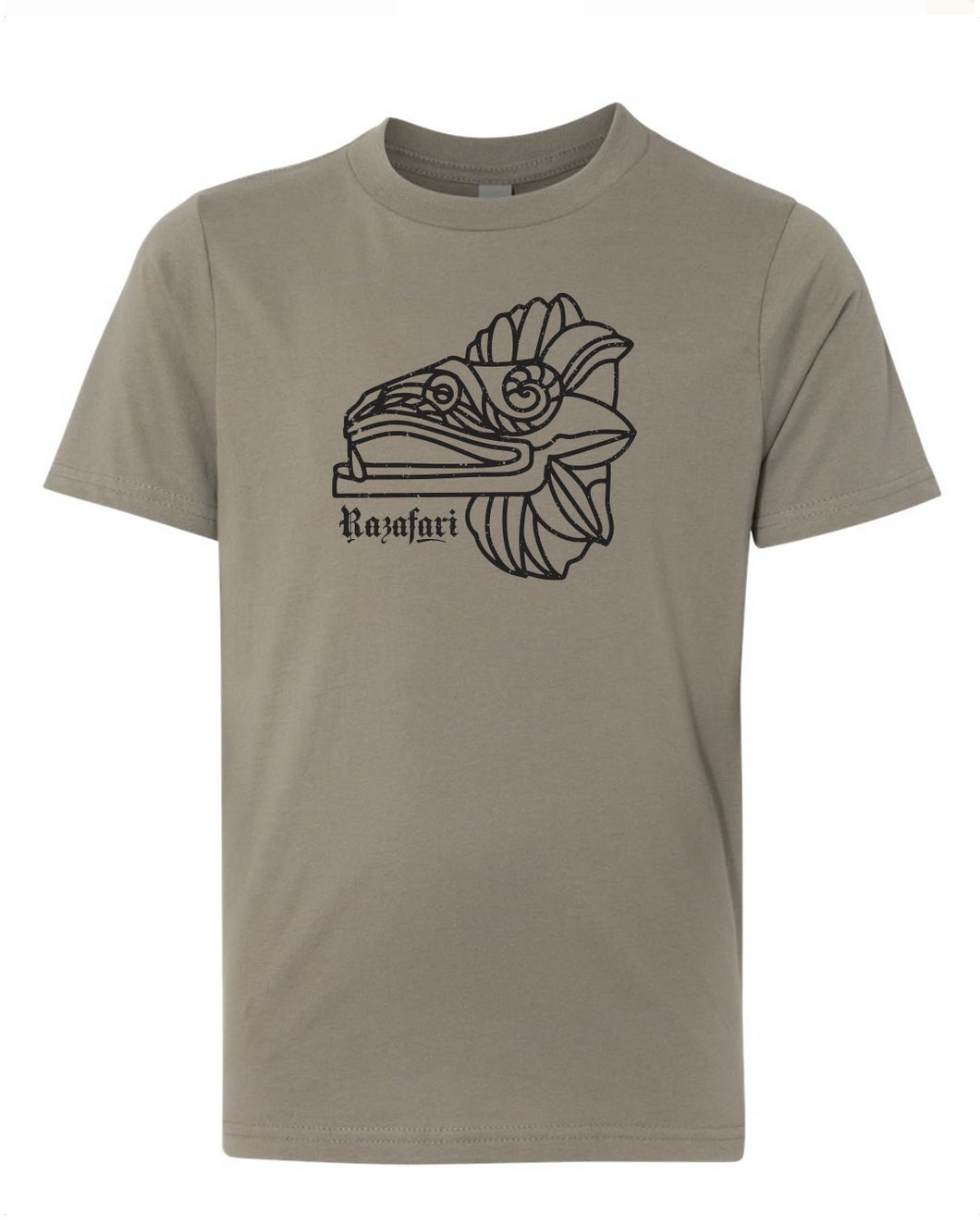 (Youth) Feathered Serpent Unisex T-shirt - Warm Grey