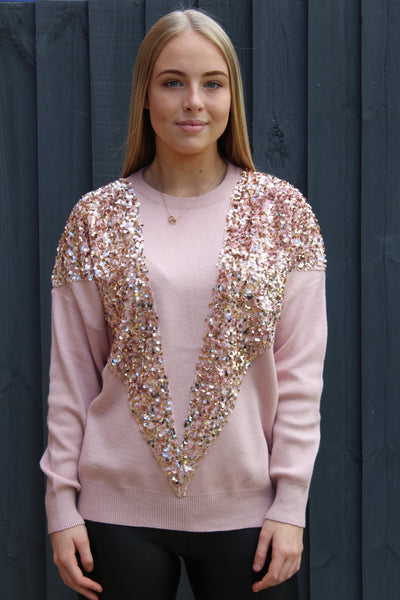 Sequin V Jumper (more colours available)