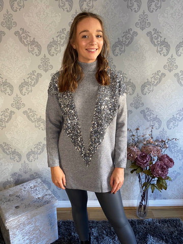 V Sequin Longline Jumper (more colours available)