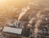 View of gas emission factory