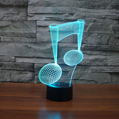 Music Note 3D LED Illusion Lamp
