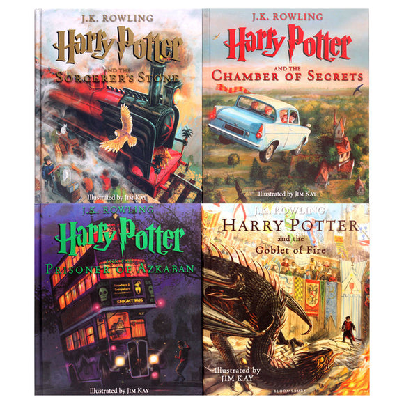 Harry Potter: The Illustrated Collection 1-4 Books (UK painted version)