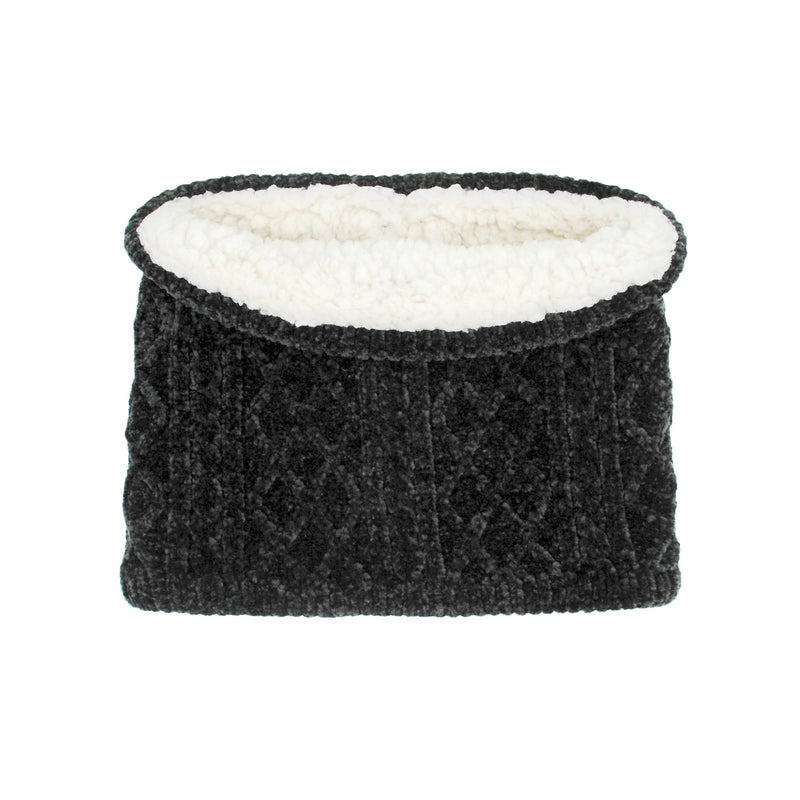 Chenille Cable Knit Snood in Black