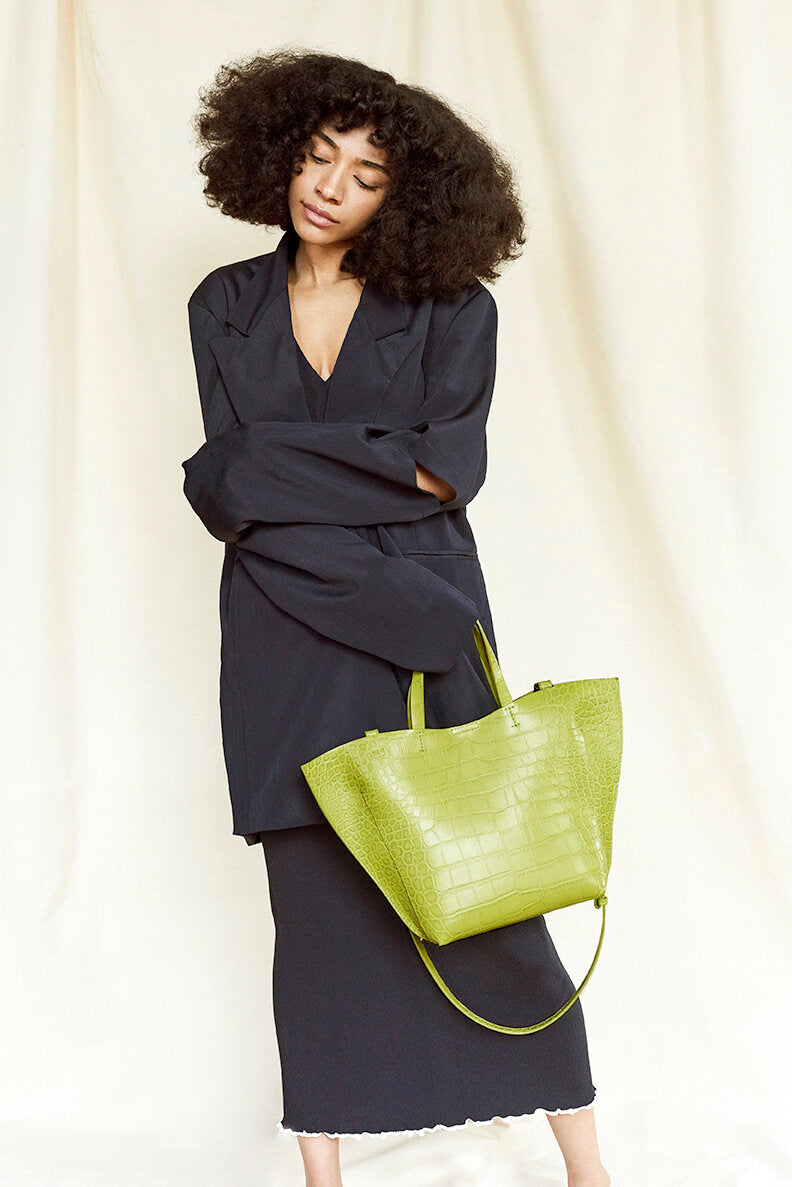 Nº50 Shell Tote - Chartreuse Croc