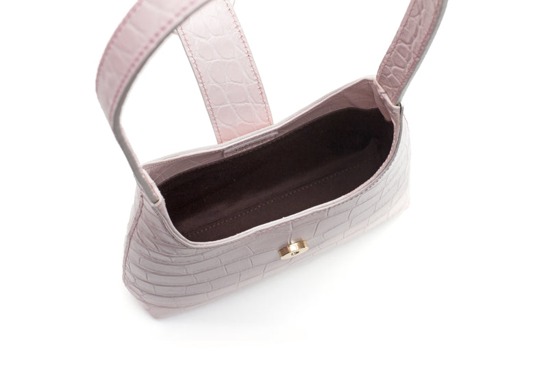 Nº44 Lucite Buckle Mini - Pale Rose Croc