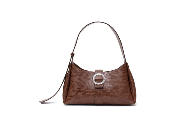 Nº47 Lucite Buckle Shoulder - Chestnut Croc