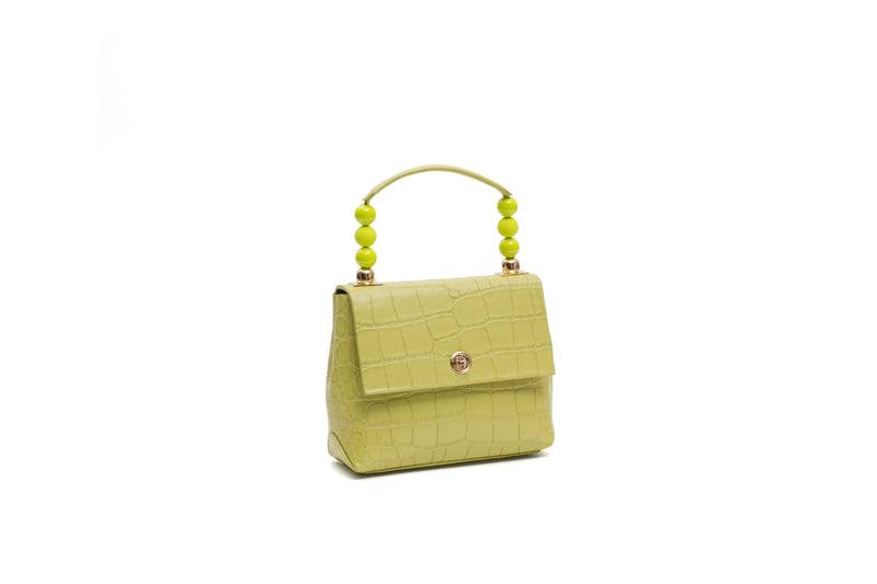 Nº48 Carré Top Handle Mini - Chartreuse Croc // WEB EXCLUSIVE