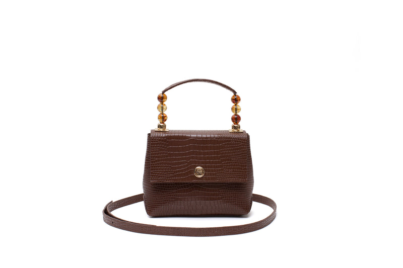 Nº48 Carré Top Handle Mini - Chestnut Croc