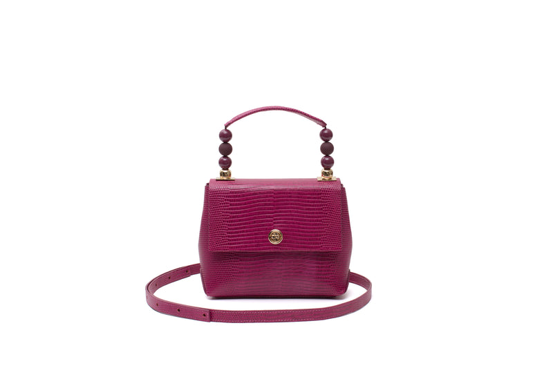 Nº48 Carré Top Handle Mini - Fuchsia Lizard // WEB EXCLUSIVE
