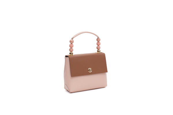 Nº48 Carré Top Handle Mini - Saddle + Blush