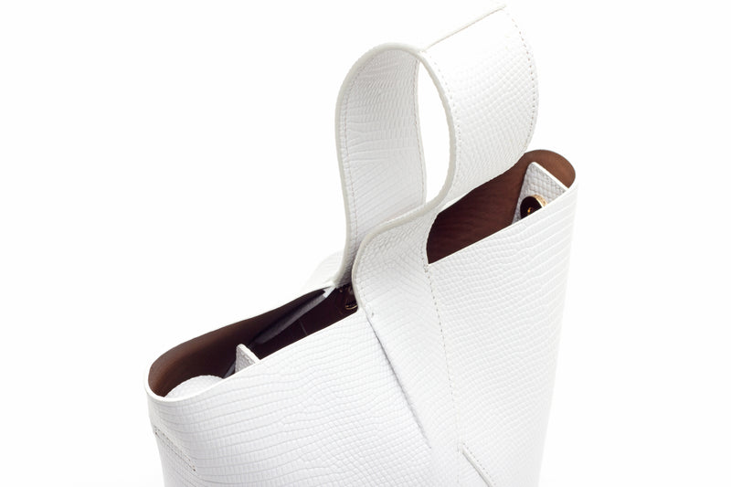 Nº49 Cross Handle Bucket - Blanc Lizard