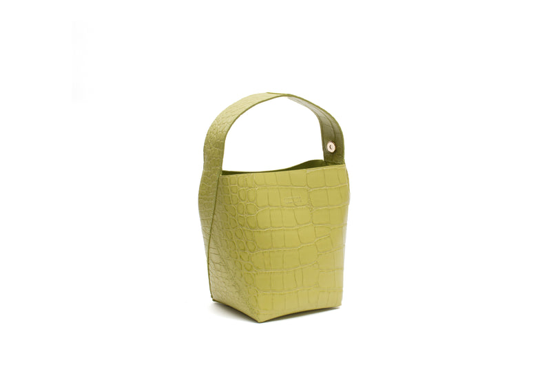 Nº49 Cross Handle Bucket - Chartreuse Croc