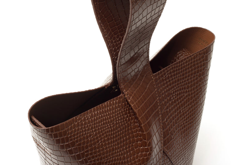 Nº49 Cross Handle Bucket - Chestnut Croc // WEB EXCLUSIVE