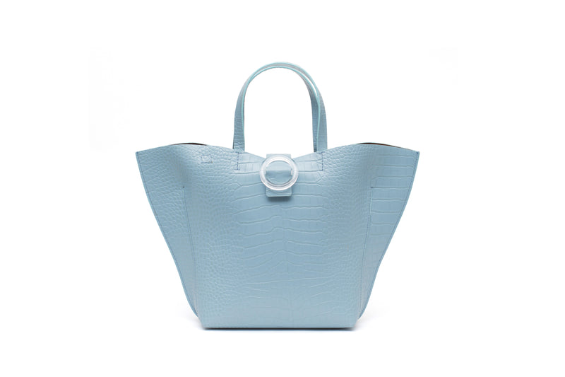 Nº50 Shell Tote - Pale Blue Croc