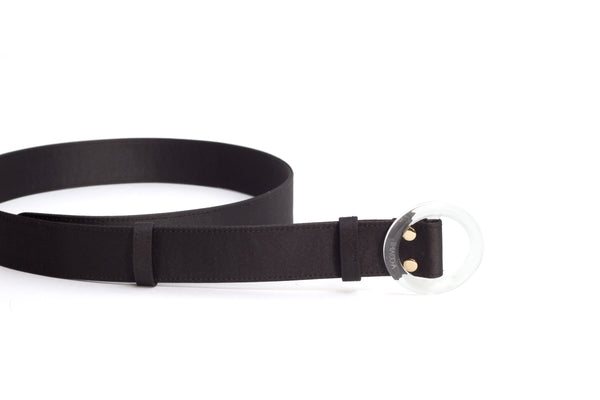 Nº46 Lucite Buckle Belt - Noir Satin