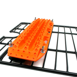 Maxtrax mount for the floor of tubing and mesh racks