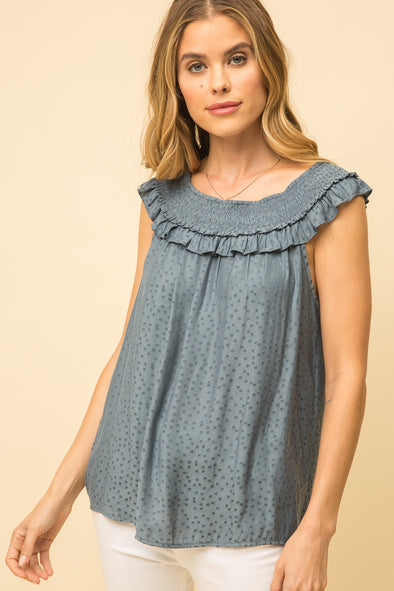 Blue Star Ruffled Neckline Top