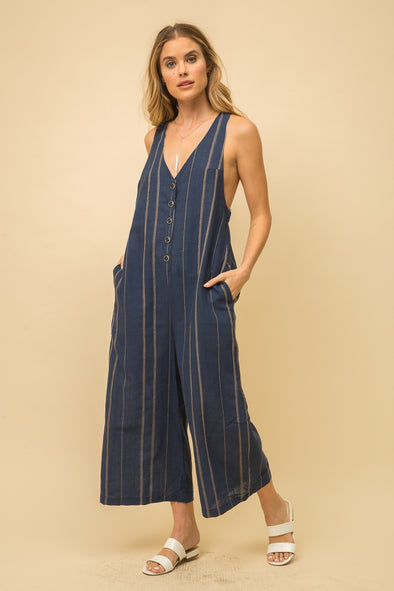 jumpsuit, wide leg with pockets and buttons