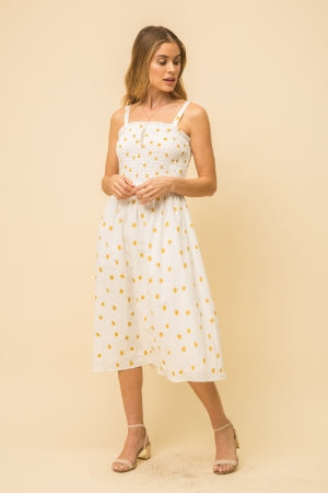 dress, smocked polka dot